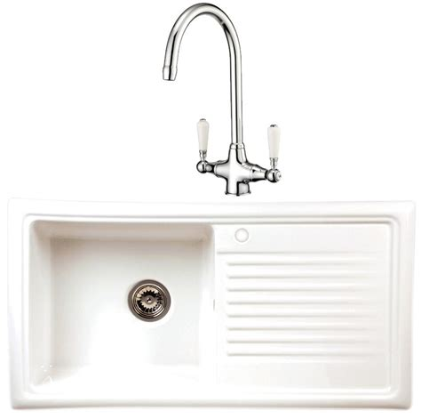 Kitchen Sink And Tap Sets Reginox White Ceramic Kitchen Sink 1 0 Bowl And Chrome Tap Set Rl304cw Elbe