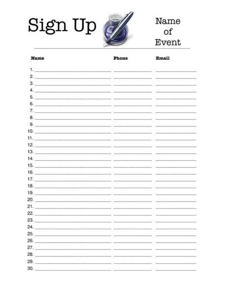 template for sign up sheet 4 excel sign up sheet templates excel xlts