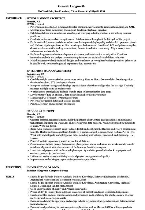 Hadoop Resume by Hadoop Architect Resume Sles Velvet