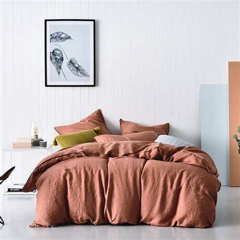 bedroom covers home republic vintage washed quilt cover terracotta