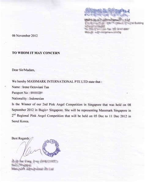 Sponsorship Letter For Korea Visa Sle Sponsor Letter For Visa Application Singapore Exles Topics