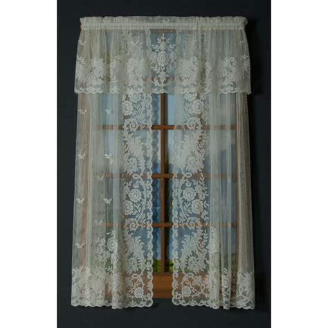 long lace curtains 36 quot long white irish point jacquard lace sheer curtain pair
