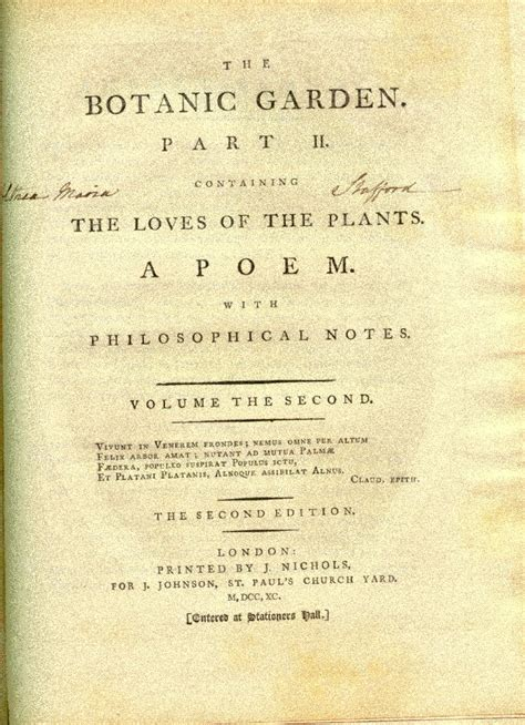 Erasmus Darwin The Botanic Garden Michigan State Libraries And Botany In 18th And Early 19th Century