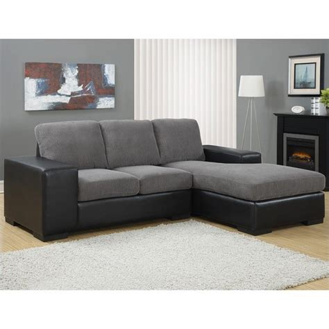 charcoal gray sectional sofa monarch bonded leather sofa lounger in charcoal gray 496183
