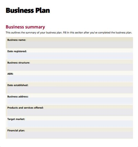 business plan template free pdf business plan templates 6 free documents in