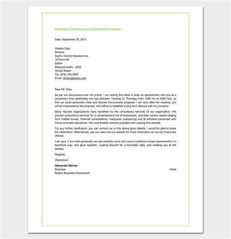 appointment letter business consultant business appointment letter 20 sles exles formats