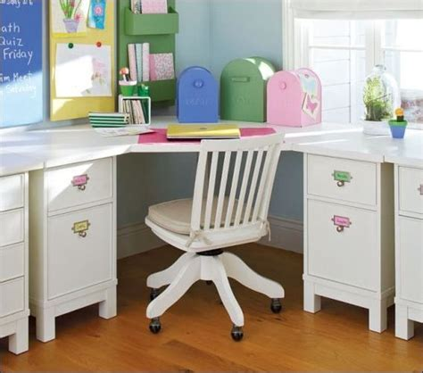 Corner Study Desk Room Corner Study Desk In White Color Looks So Coupled With Swivel Chair
