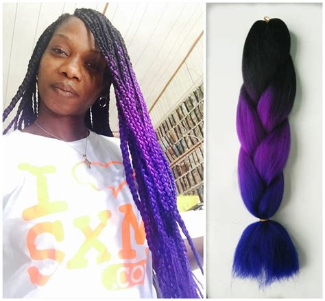 purple ombre braiding hair fashion ombre braiding hair three toned kanekalon jumbo