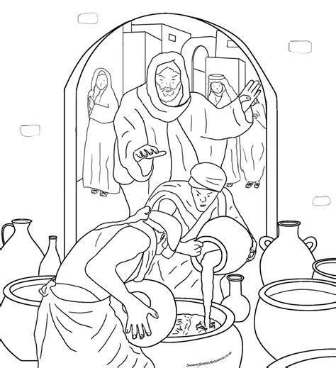 coloring pages jesus first miracle sunday school jesus bible coloring pages