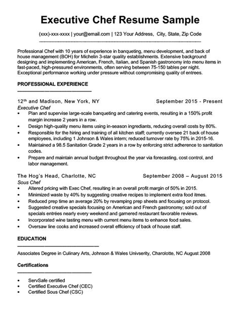best executive chef resume sles downloadable chef resume sles writing tips rc