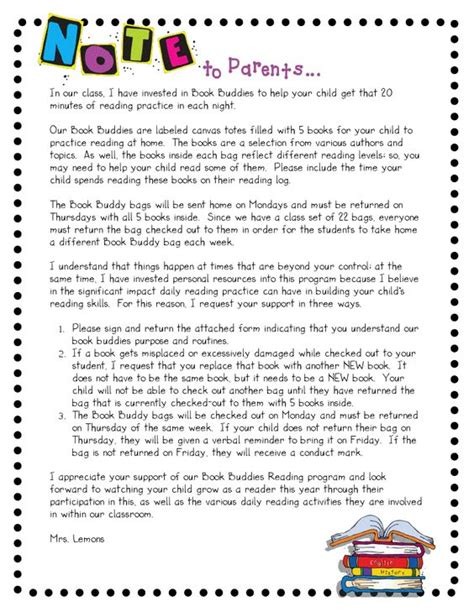 Parent Letter About Reading step into 2nd grade with mrs lemons book buddies