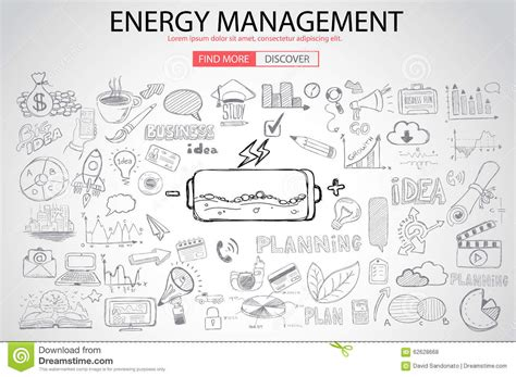 how to create energy in doodle energy management with doodle design style stock vector