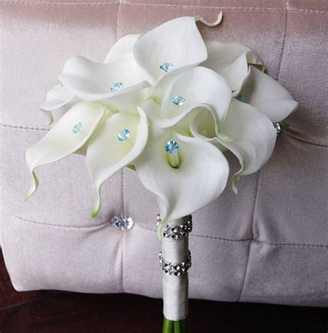 silk wedding bouquet with calla lilies off white natural touch callas and crystals silk bridal