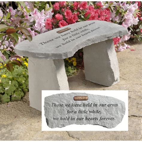 memorial garden benches stone in our hearts forever personalized cast stone memorial