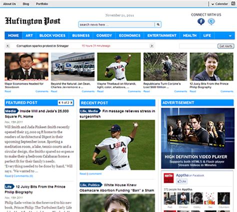 wordpress template to clone huffington post apptha