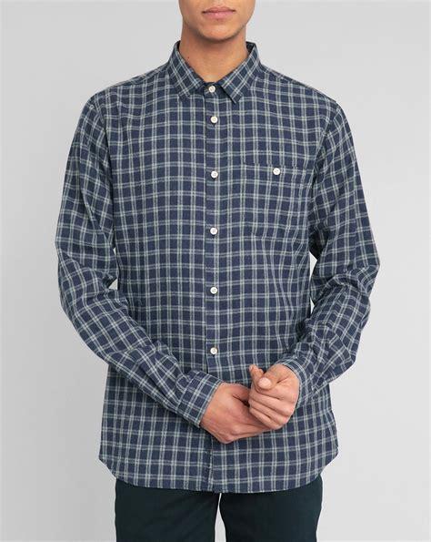 Kemeja Flannel Tartan Blue knowledge cotton apparel navy blue tartan flannel shirt in blue for navy lyst
