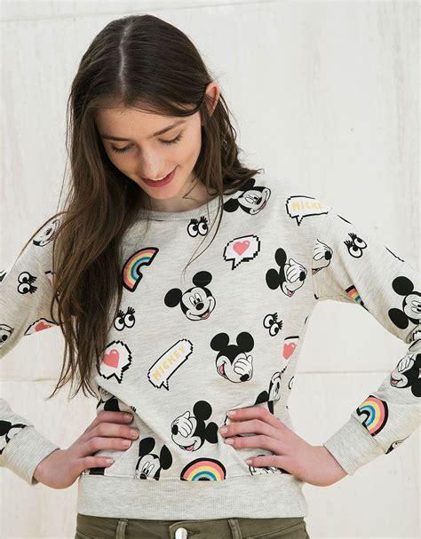 Bershka Sweatshirt Mickey Print bsk embroidered mickey all sweatshirt sweatshirts