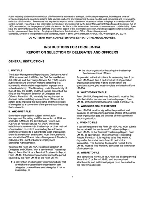 Reports Of The Delegates for form lm 15a report on selection of