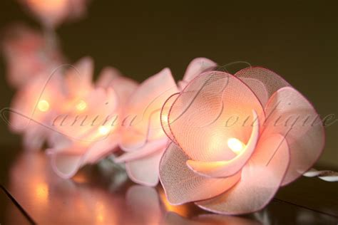 20 light pink nylon rose flower battery operated led