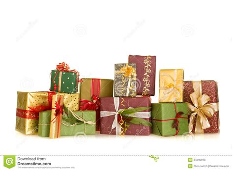 group of christmas gifts stock photo image 34490910