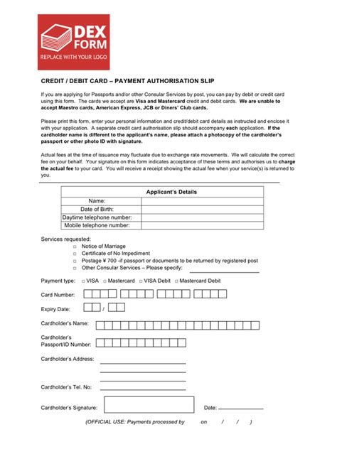 how to make payment with debit card credit debit card payment authorisation slip in word and
