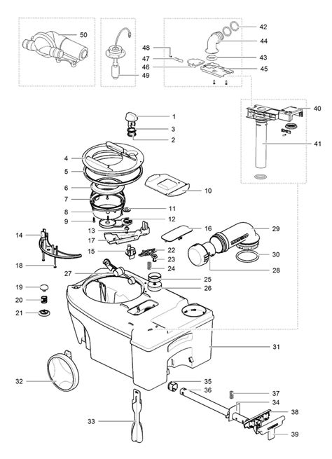Thetford Toilet Exploded View by Caravansplus Spare Parts Diagram Thetford C250 C260