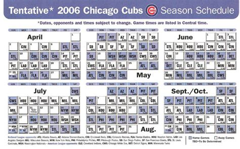 the 2006 cubs schedule chicago cubs