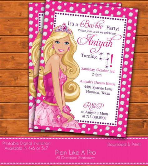 printable birthday invitations barbie 25 best ideas about barbie birthday party on pinterest