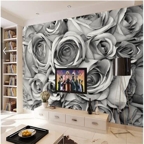 large custom mural wallpaper retro black  white roses