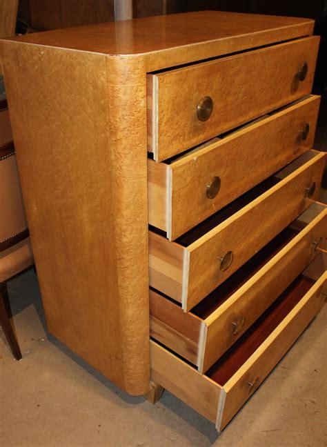 deco style bird s eye maple five drawer dresser