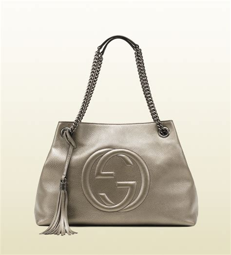 Gucci Soho Bag gucci soho metallic leather shoulder bag in gray grey lyst