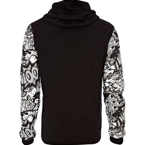 Hoodie Island 1 Zalfa Clothing river island black sleeve hoodie in black for