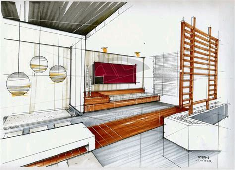 Marker Rendering Interior Design by Interior Design Marker Sketch Arch Student