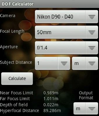 dof calculator turns your android phone into a