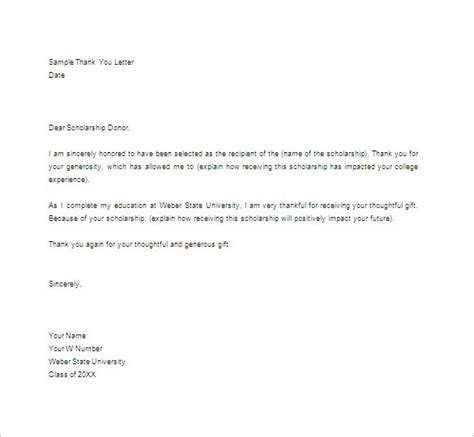 thank you letter template scholarship thank you letter 11 free sle exle