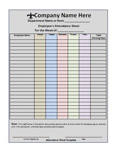 sample attendance sheet templates visualbrains info