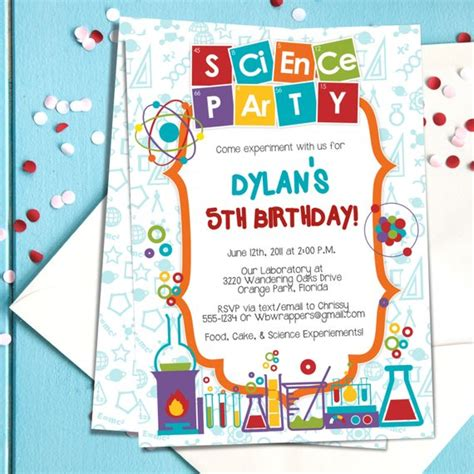 Coloful Science Themed Party Invitation Template Mad Free Science Birthday Invitation Templates