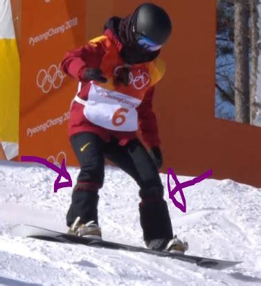 snowboarding straps around olympic halfpipe snowboarder