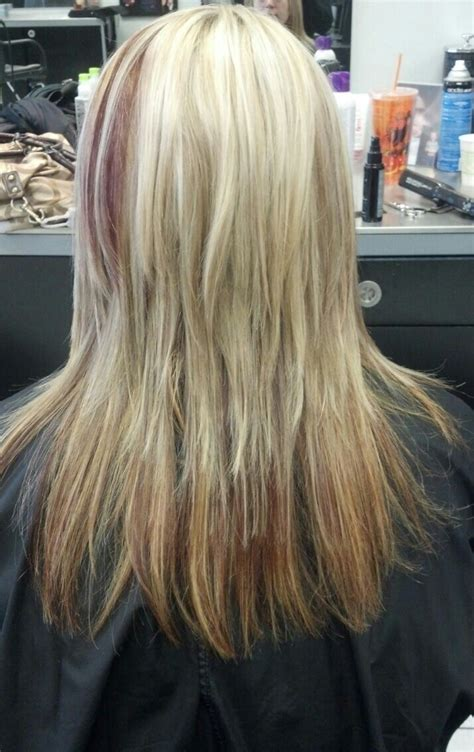 blonde hair with low blonde hair with red low lights hair pinterest
