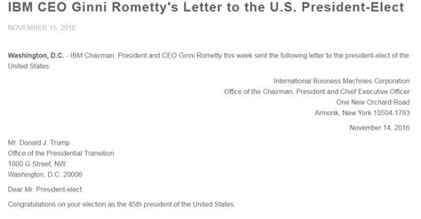 Business Letter Writing For Ibm Ibm S Rometty Writes Open Letter To Offers Support For Tax Reform