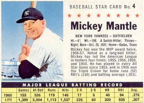 Baseketball Mickey 2358 1961 Post Cereal Mickey Mantle 4hc Baseball Card Value