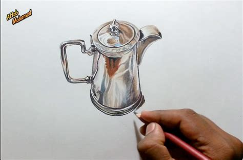 how to color metal drawing a realistic metal jug using colored pencils