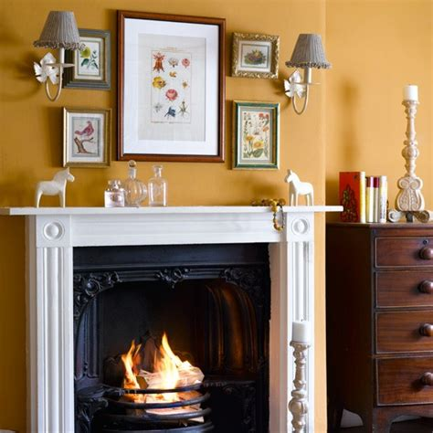 yellow fireplace yellow country style living room living room design