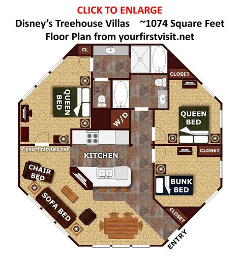 Saratoga Springs Treehouse Villa Floor Plan | sleeping space options and bed types at walt disney world