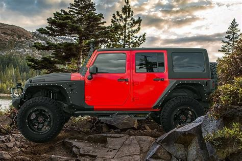 matte red jeep tuff 174 t10 wheels matte black with red accents rims
