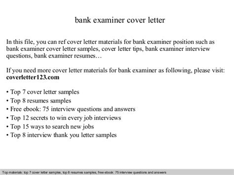 Examiner Cover Letter by Bank Examiner Cover Letter