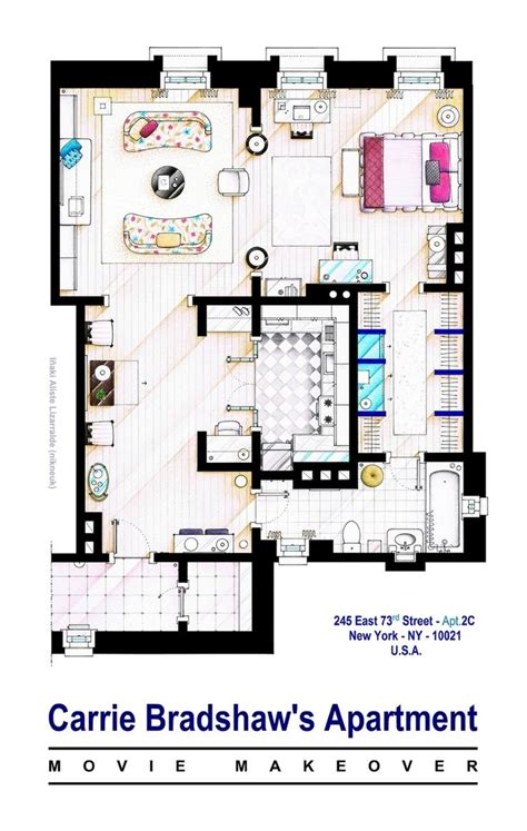carrie bradshaw apartment floor plan 36 best tv floorplans images on pinterest floor plans