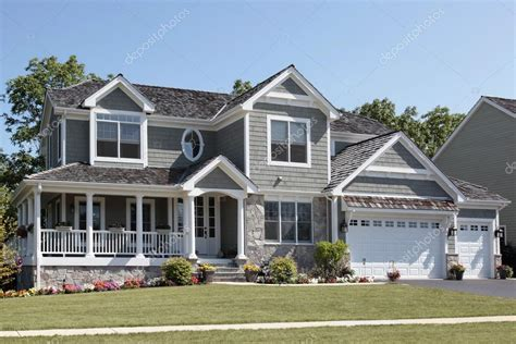 Modern Mansion Floor Plan suburban home with wraparound porch stock photo 169 lmphot