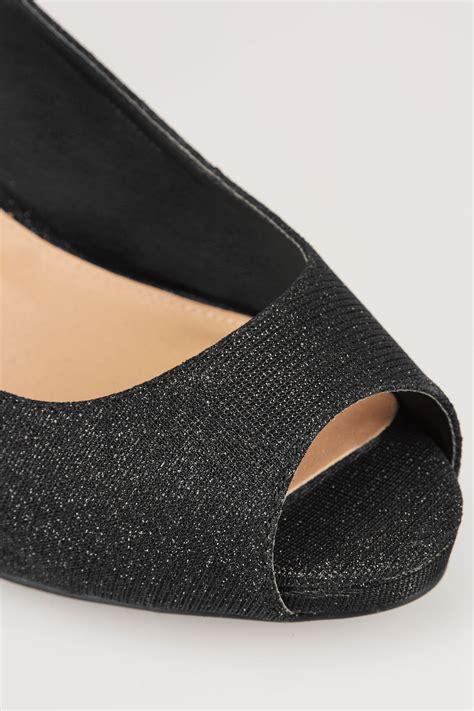 C772 Black Sling Bag black glittery peep toe sling back heels in true eee fit