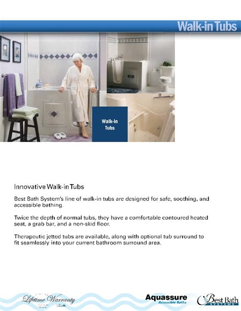 slide in bathtub aquassure walk in and slide in bathtub catalog by best